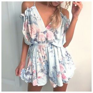 Pants - Cute Floral Playsuit Blue Romper ✨ Last 2